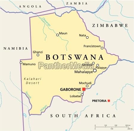 botswana politische karte