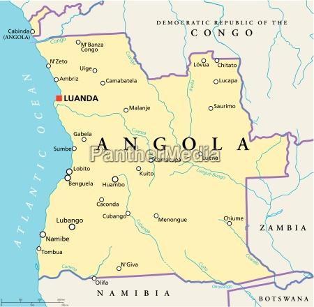 angola politische karte
