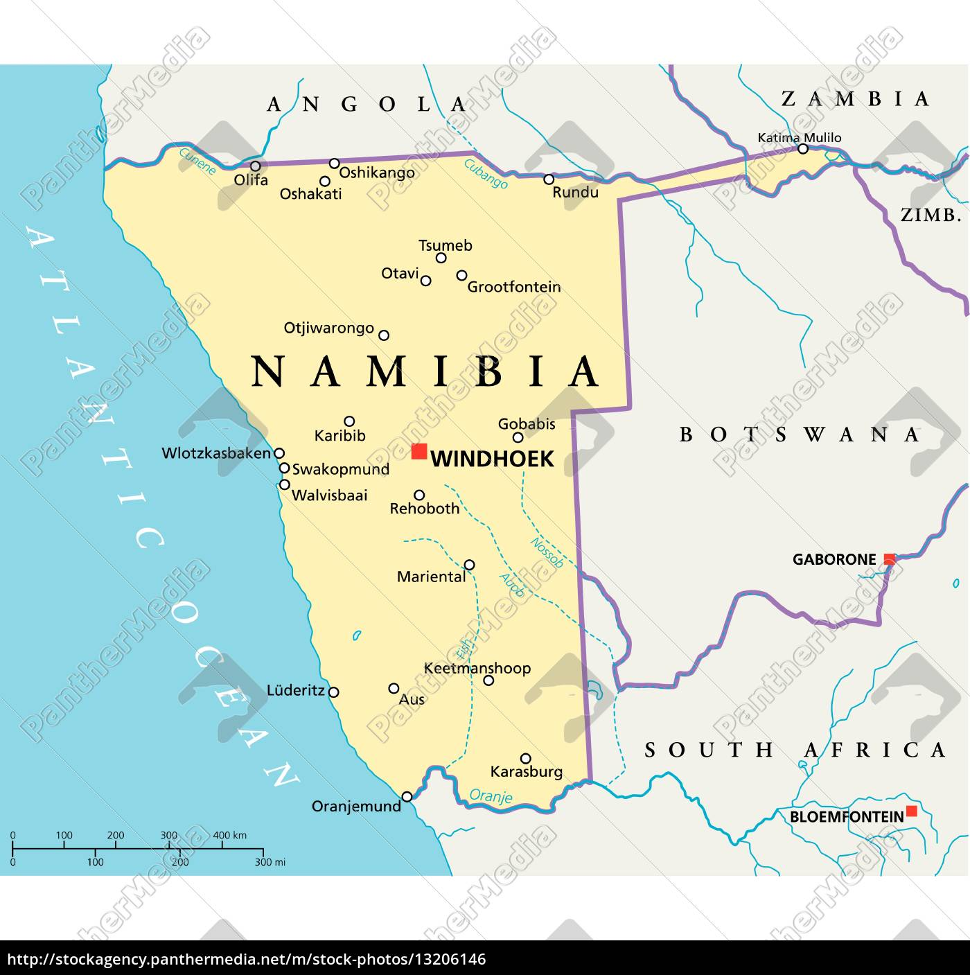 karte namibia namibia politische karte   Stock Photo   #13206146   Bildagentur