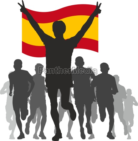 winner with the spain flag at