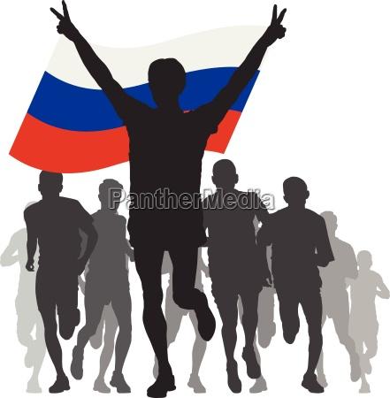 sieger, mit, russland-flagge, im, ziel - 13224486