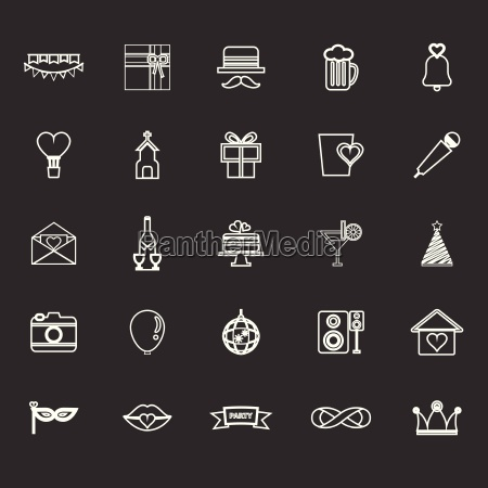 happy anniversary line icons on gray