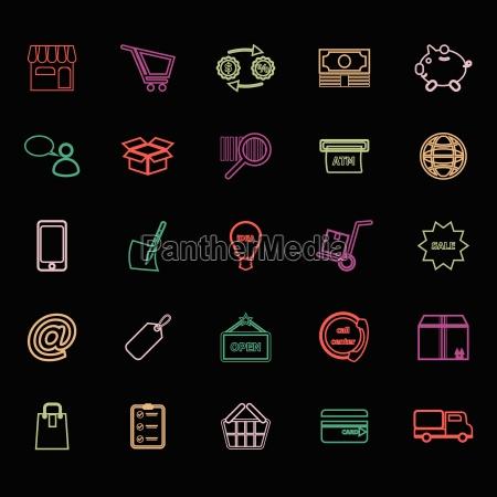 internet entrepreneur line icons flat color