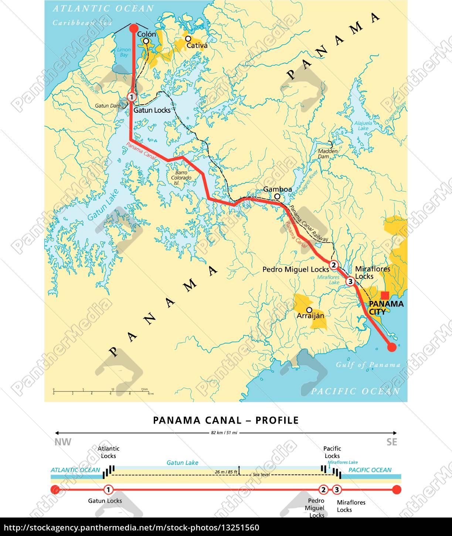 Panamakanal Politische Karte Lizenzfreies Foto 13251560 Bildagentur Panthermedia