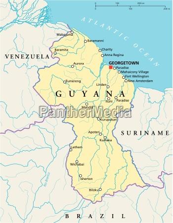 guyana politische karte