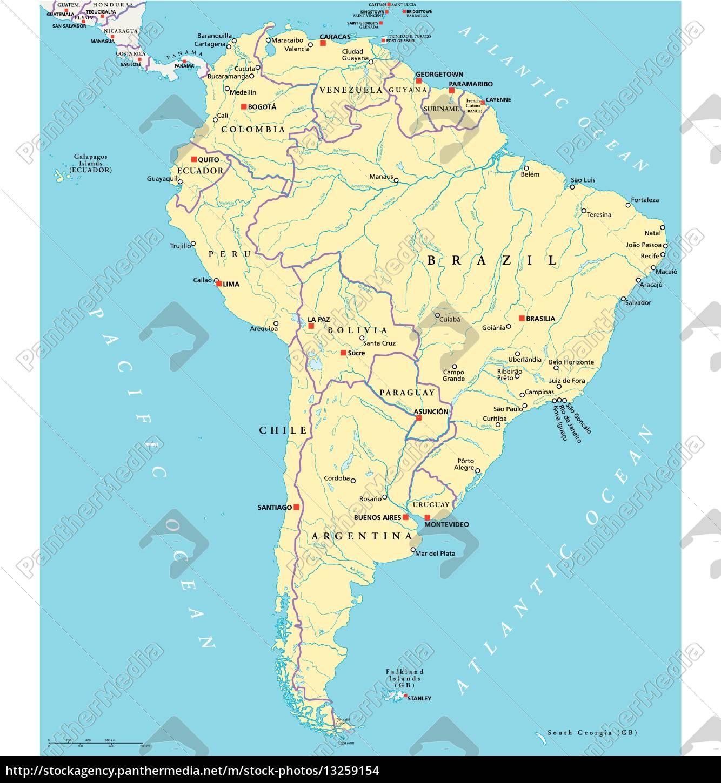 Südamerika Karte Ohne Beschriftung.Lizenzfreie Vektorgrafik 13259154 Südamerika Political Map