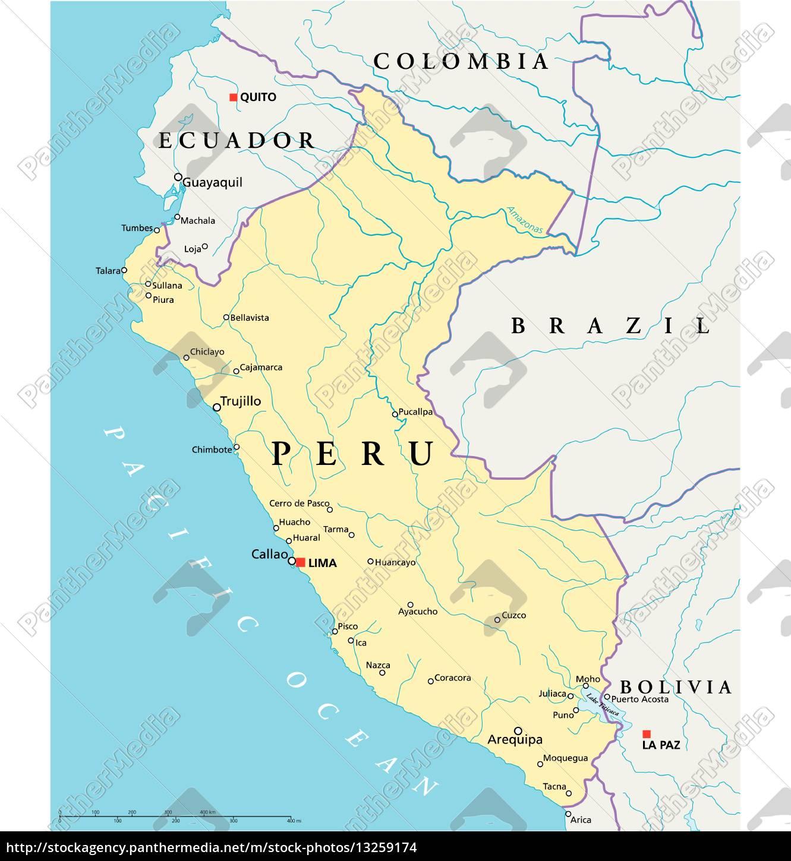 Peru Karte.Lizenzfreie Vektorgrafik 13259174 Peru Politische Karte