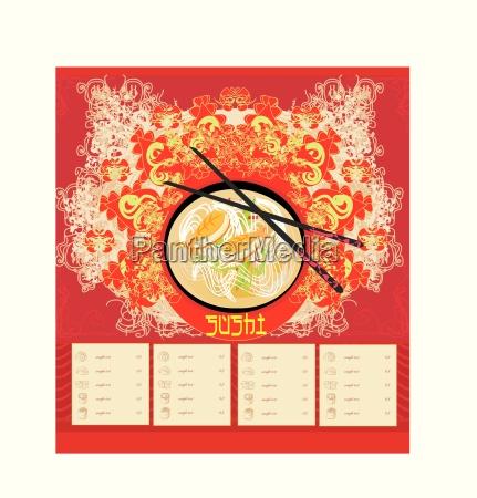 menue fuer sushi template design