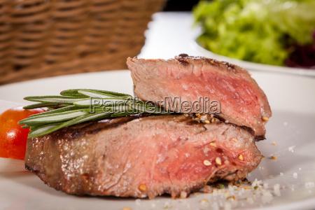 medium fried beef steak fillet with