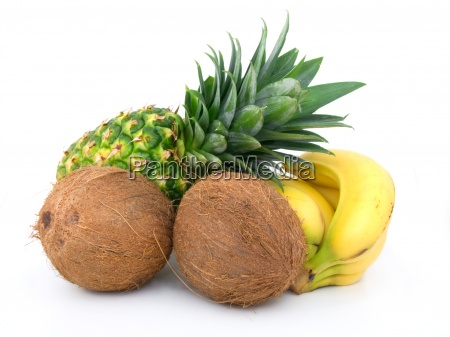 ripe pineapple bunch of bananas and