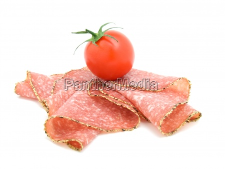 pepper salami sausage with tomato