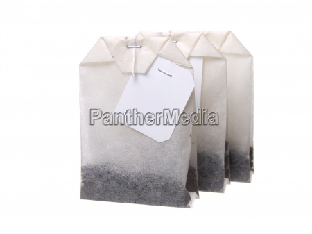 close up of tea bag isolated