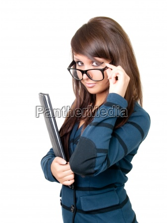 young beautiful businesswoman wearing glasses isolated