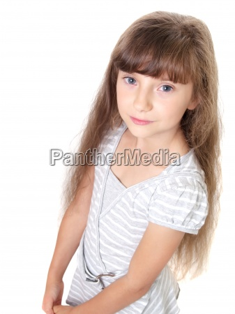 portrait of a shy child isolated