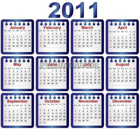 calendario de 2011 la semana comienza
