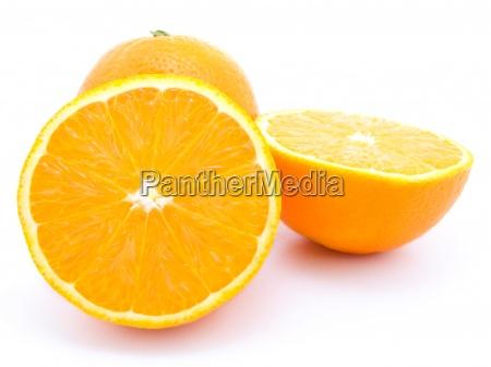 ripe orange fruits isolated on white