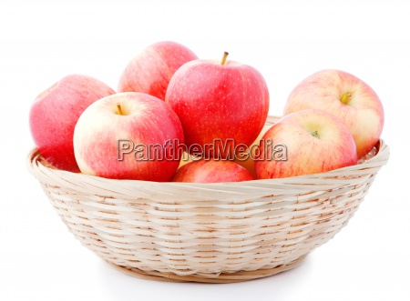 basket of apples isolated on a