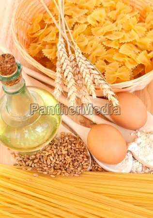 ingredients for homemade pasta food background