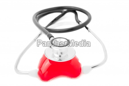 heart and stethoscope isolated on white