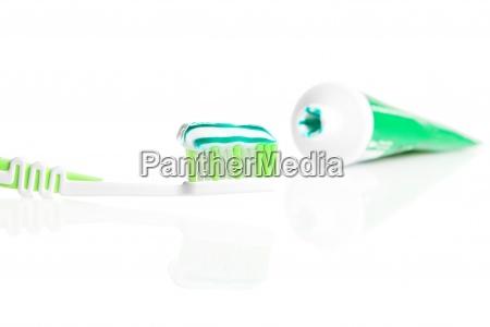 macro shot of toothbrush with dental