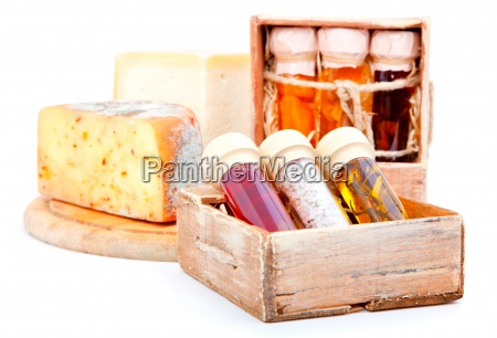 spices in glass bottlesin the old