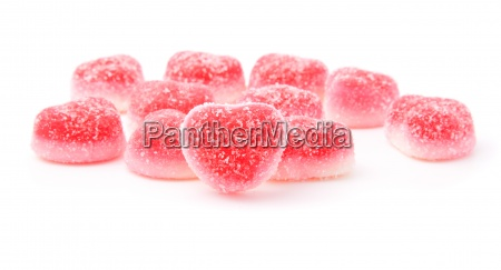 red fruit candies in heart formation