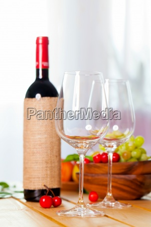 two glass with red wine on