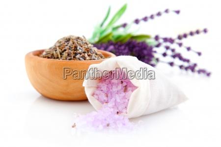 dry lavender herbs and bath salt