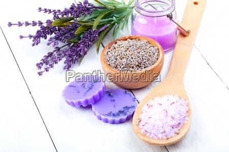 lavender bath salt on wooden background