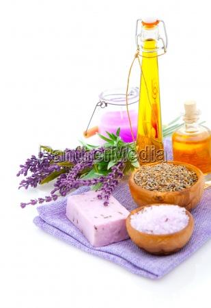 lavender bath salt oil on white