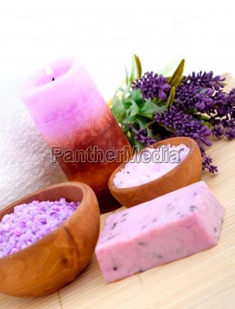 lavender bath salt on white background