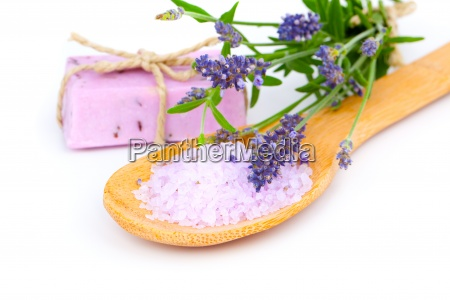 lavender bath salt on wooden spoon
