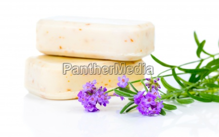 handmade soap and lavender flowers on