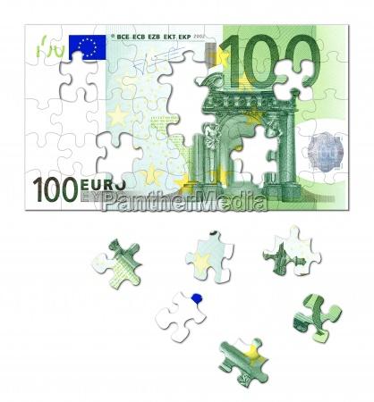 puzzle geldschein euro 100 einhundert hundert