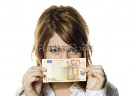 frau maedchen euro waehrung fuenfzig geld
