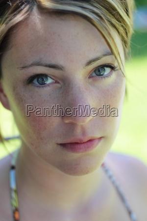 woman earnest female sad person summer
