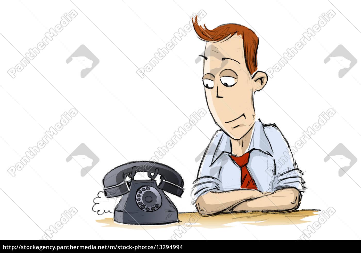 Mann Telefon Warten Anruf Comic Krawatte Lustig Kontakt Stock