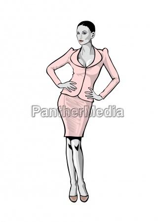 bbusinesslady im rosa kostuem illustration auf