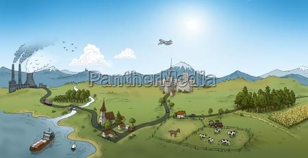 stadt, , land, , fluß, , illustration - 13296824
