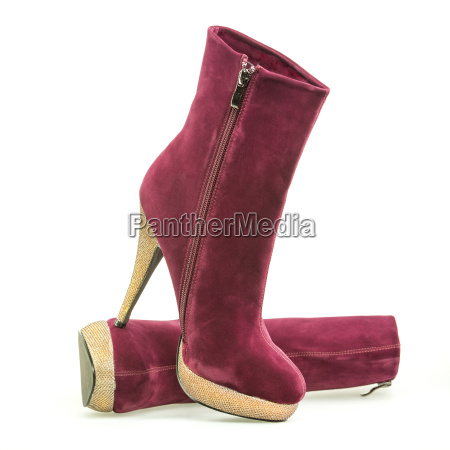 high heels ankle boots with golden