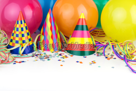 balloons streamers confetti party hats party
