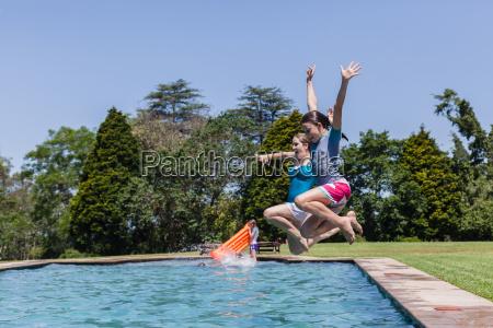 girls jump pool