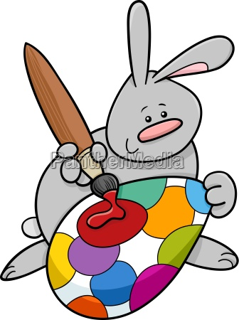 easter bunny painting egg cartoon