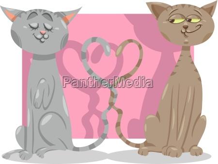 katzen in der liebe cartoon illustration