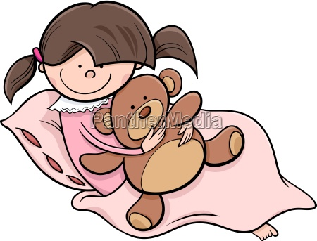 girl with teddy cartoon illustration