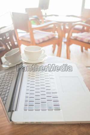 working space with laptop and coffee