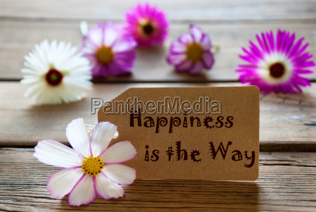 label with life quote happiness is