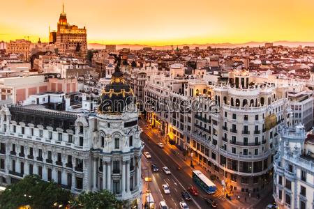 panoramic view of gran via madrid