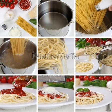 spaghetti pasta cook with tomato sauce
