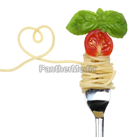 spaghetti dish with heart on a